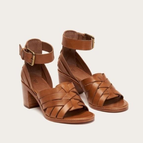 Bianca Huarache Ankle Wood Block Sandal